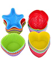 Silicone Cupcake Liners, DILISS Reusable Silicone Baking Cups Nonstick Muffin Molds for Cake Balls, Muffins, Cupcakes and Candies, Assorted Bright Colors Heat Resistant up to 233℃/ 450℉
