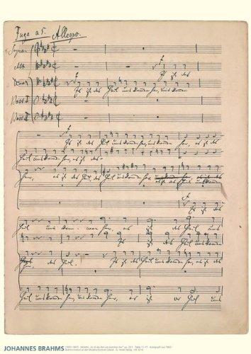 Brahms Music Manuscript Poster: Motet, Es ist das Heil uns kommen her, op. 29, No. 1 for ()