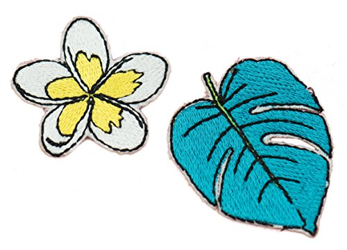 (Tropical Patch Set: Plumeria Hawaiian Flower and Monstera Leaf Embroidered Iron-on Patch Set (Two Patches))