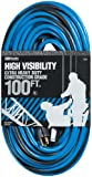 Woods 2444 12/3 SJTW High Visibility Outdoor Extension Cord, Blue/Black, 100-Feet