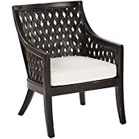 OSP Designs Plantation Lounge Chair with Cushion In Antique Finish, Black