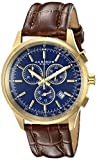 Akribos XXIV Men's AK863YGBU Quartz Chronograph Blue-Dial Gold-Tone Watch
