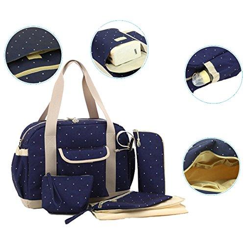 Multifuncional momia bolsa bolso de mano bolso de hombro de gran capacidad bebé pañal pañales bolsa azul oscuro