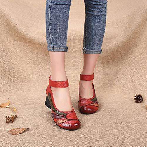 Block en Mary Qiusa Jane Femmes Soft Cuir Strap T Chaussures 7Txnwx6