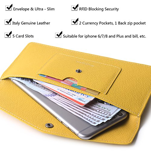 Women's Wallet Leather RFID Ultra-thin Envelope Ladies Purse Travel Clutch (Crosshatch Yellow) by Borgasets (Image #3)