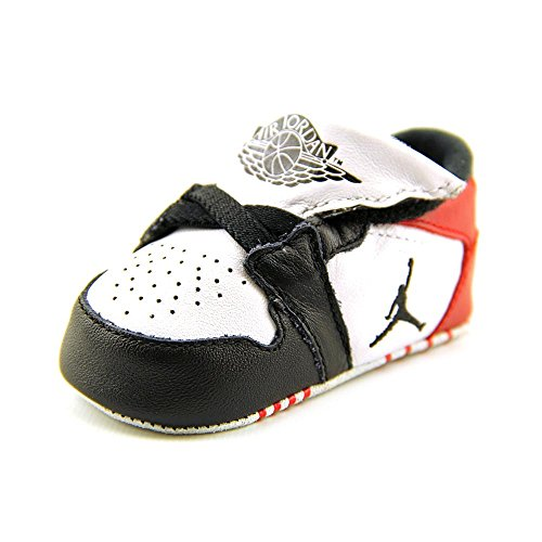 Nike Jordan Toddler Jordan 1st Crib (CB) White/Black/Gym Red Casual Shoe 2 Infants US (Shoes Baby Girls Jordan)
