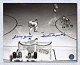 Autographed Johnny Bower vs Dickie Moore Dual Legends Showdown Overhead 8x10 Photo - Signed NHL Photos