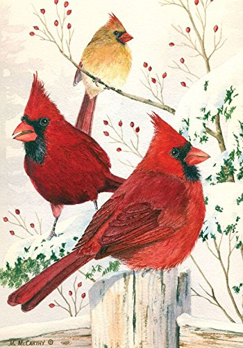 Cardinals in Winter Garden Flag Birds Seasonal 125quot x 18quot Briarwood Lane