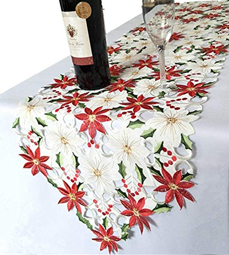 - OZXCHIXU TM 15 x 69 Inch Luxury Embroidered Wedding Table Runners Holly and Poinsettia Wedding Christmas Table Decoration