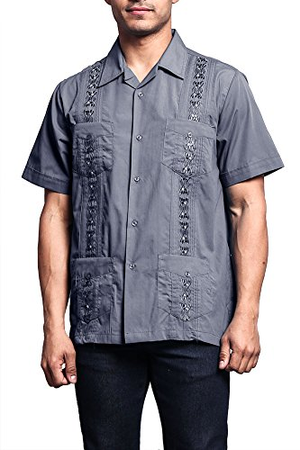 (G-Style USA Men's Short Sleeve Cuban Guayabera Shirt 2000-1 - Charcoal -)