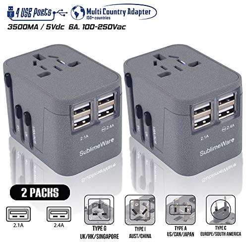 Power Plug Adapter - International Travel (Sand Grey 2 Pack)- w/4 USB Ports Work for 150+ Countries - 220 Volt Adapter Travel Adapter Type C Type A Type G Type ()