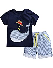 Fiream Little Boys' Whale Cotton Clothing Short Baby Sets(SY057,12-18M)