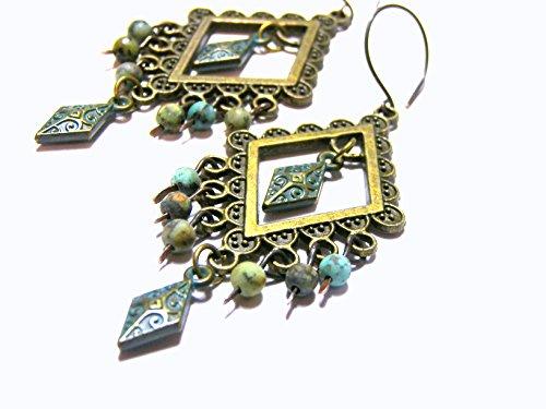 Turquoise Chandelier Oxidized Brass dangle Earrings