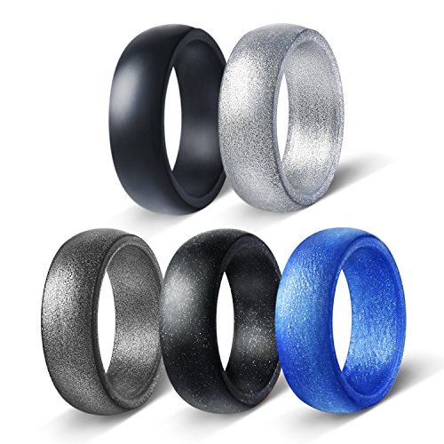 Egnaro Silicone Wedding Rings For Men,Stylish Silicone Wedding Bands,5/7 Rings Pack,Size 8-12,Comfortable fit,No-toxic,Skin Safe,Including Metallic Colored Styles