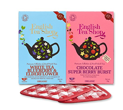 English Tea Shop 2 Pack Bundle Chocolate Super Berry Burst Super Tea & White Tea Blueberry & Elderflower with Set of Basically British Tea Coasters