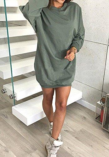 Da Partito Maglieria Oufour Collo Sweater Mini Vestiti Lunga Manica Tinta Tunica Unita Inverno Jumper Rotondo Maglione Felpe Autunno Donna Casual Verde E Pullover AqAwTRx1