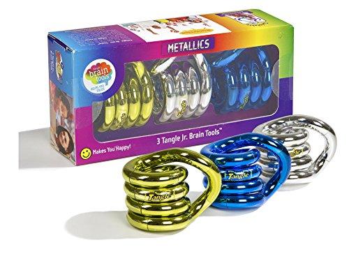 Tangle Jr. Metallics  Set of 3 Brain Tools (Assorted Colors)