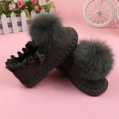 Transer® Babyschuh Lauflernschuhe Kleinkind Kinder Mädchen Casual Warm Weiches PU-Leder + Gummi Herbst Winter Schuhe mit Flauschigen Ball Anti-Rutsch Schuhe Armeegrün