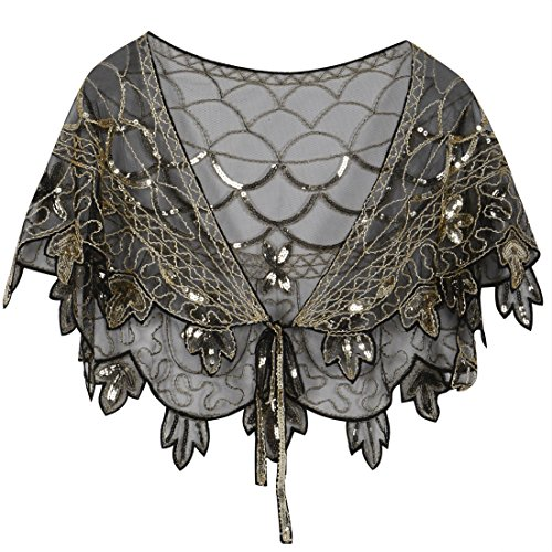 - PrettyGuide Women's 1920s Shawl Beaded Vintage Bolero Flapper Evening Wraps Gold
