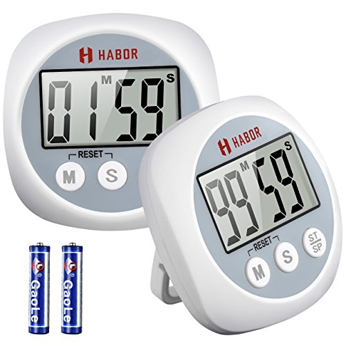 Habor 2 Pack Kitchen Timer Digital Cooking Timers, Big Digits Loud Alarm Magnetic Backing Stand on/off Switch, Minute Second Count up Countdown timer for Kids Baking Exercise Game (Batteries (Digit Timer)