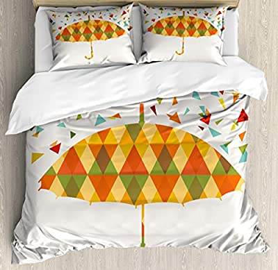 Printed Quilt SetTriangles Umbrella Duvet Cover SetGirls Boys Children's Quilt Cover Bedding Set