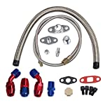 yjracing Complete Kits Turbo Charger Oil Drain Return Feed Line Kit Fit For T3 T4 T04E T60 T61 T70