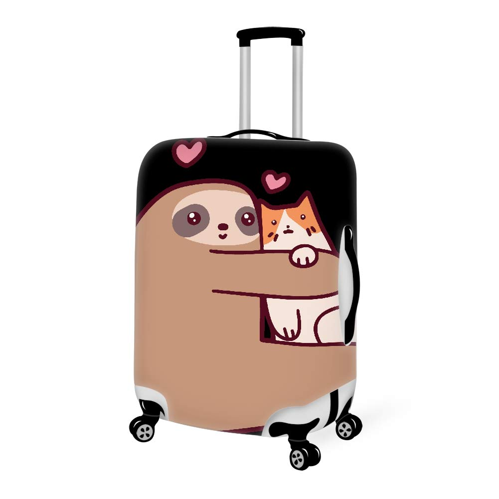 Luggage Cover Sloth Loves Cat Protective Cover Protector with Zipper Closure Anti-Scratch Dustproof, 18/20/22/24/26/28 Inch