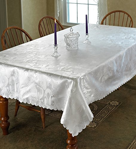 """European Rose Design Tablecloth White 60"""" by 102"""" Oblong / Rectangle"""