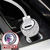 U&M Bling Bling Dual Port USB Car Charger Handmade Rhinestones Crystal Car 12V Cigarette Lighter for Fast Charging Cellphone,Tablet,etc.