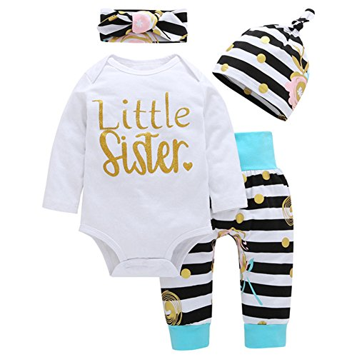 OUTGLE Newborn Baby Girl Toddler White Romper + Stripe Trousers + Hat + Headband Autumn Winter Outfits (0-3 Months, Multicolor) (Gift For Newborn Baby Girl)