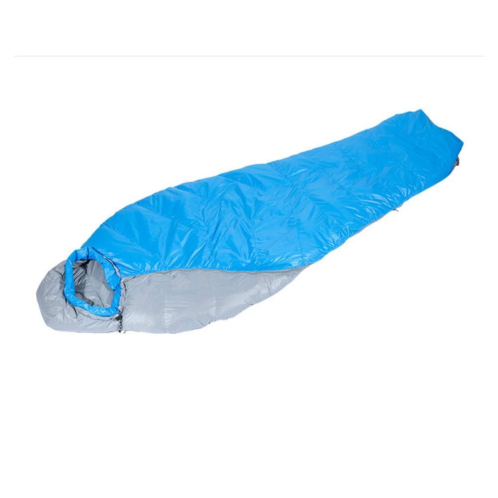 Qys Momia Abajo Saco De Dormir Adulto Invierno Cálido Ligero Portátil Bolsa Comprimida Azul: Amazon.es: Deportes y aire libre