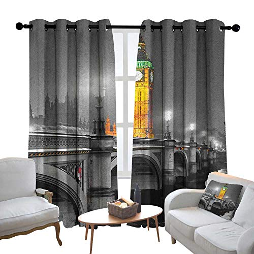 Blackout Lined Curtains London,The Big Ben and The Westminster Bridge at Night in UK Street River European Look, Grey Yellow,Thermal Insulated,Grommet Curtain Panel Set of 2 120
