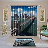 Material: 100% Polyester      SIZE:fits most standard shower stall/ bath tub and compatible with straight or curved shower rods      100% Polyester Material, Waterproof    Material determines quality. Our bathroom shower curtains are made of hi...
