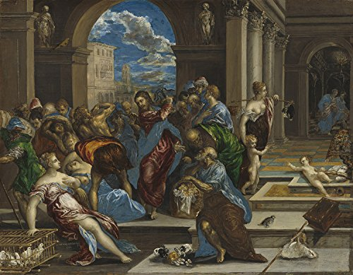 Greco Painting - PAINTING EL GRECO CHRIST DRIVING MONEY CHANGERS FROM TEMPLE POSTER PRINT LLF0268
