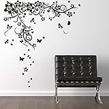 Walplus KE-QRO3-9D76 - Pegatina de pared gigante, diseño mariposa, color negro