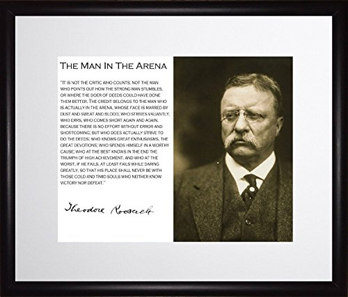 Theodore Teddy Roosevelt the Man in the Arena Quote 11x13 Matted to 8x10 Framed Sepia Style - Style Photos Mens
