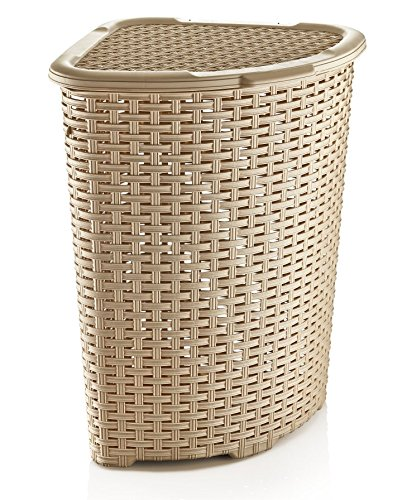 Superio Rattan Laundry Hamper - High caliber plastic Laundry Hamper Decorative Basketweave Design Triangle shape to fit in corners - laundry-room, hampers-baskets, entryway-laundry-room - 51Ky3rW4xwL -