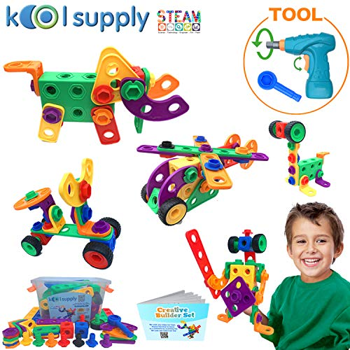 koolsupply 111 piece Creative Builder Set STEM Construction Engineering building blocks, educational toys with power drill for Ages 3 4 5 6 7 8 9 Year Old Boys & Girls | Best & Fun Toys