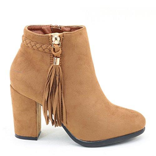 Brieten Nya Kvinna Fringe Chunky Klack Boots Kamel
