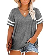Happy Sailed Womens Plus Size Tunic Tops Summer Short Sleeve V Neck/Crew Neck Loose Casual Tee Sh...
