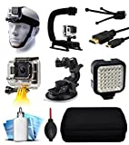 GoPro HERO4 Hero 4 Black Silver Starter Accessories Bundle includes Head Helmet Mount + Action Stabilization Handle + Floating Hand Holder + Car Suction Mount + LED Video Light + Travel Case