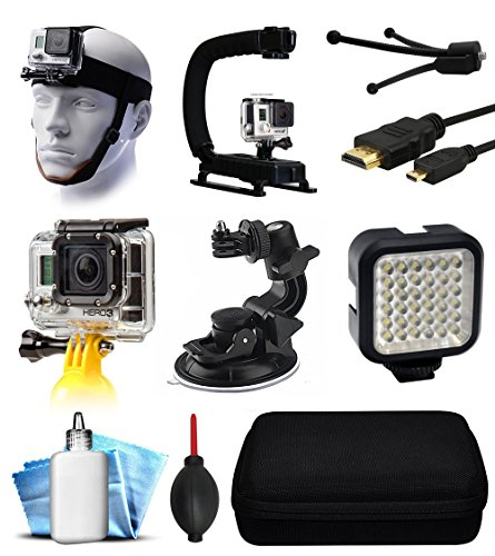 GoPro HERO4 Hero 4 Black Silver Starter Accessories Bundle includes Head Helmet Mount + Action Stabilization Handle + Floating Hand Holder + Car Suction Mount + LED Video Light + Travel Case by 47th Street Photo