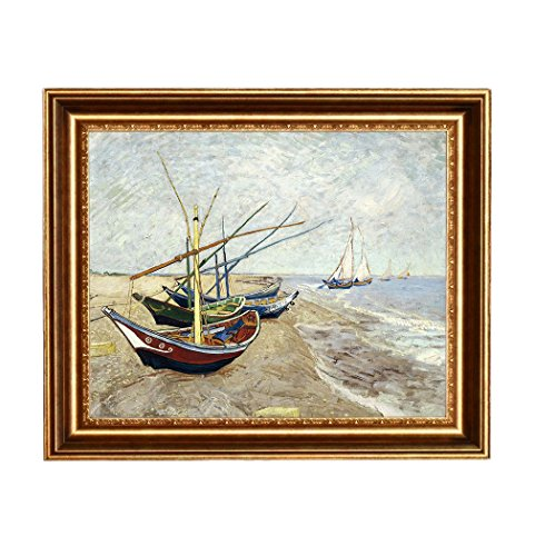 Eliteart-Fishing Boats on The Beach at Saints-Maries By Vincent Van Gogh Giclee Art Canvas Prints-Framed Size:25 1/2