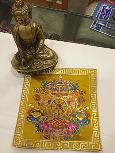 Tibetan buddhist silk brocade yellow eight auspicious symbol placemat/table cover/altar cloth (Buddhist Shrine)