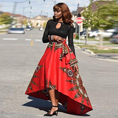 Toimothcn New African Women Printed Summer Boho Long Dress Beach Evening Party Maxi Skirt(Red,XL)