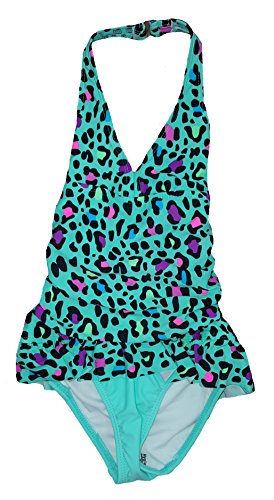 Ocean Pacific Girls Alley Cat Cheetah Print Mint One Piece Swimsuit - - Cheetah Cats Print