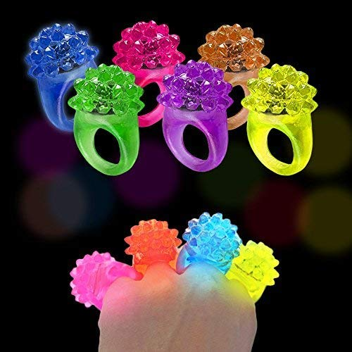 A Must to Try Light Up Fun for All Ages and Occasions Toy Cubby Flashing LED Light Rings Mega Pack of 24 Elastic Bumpy Jewels