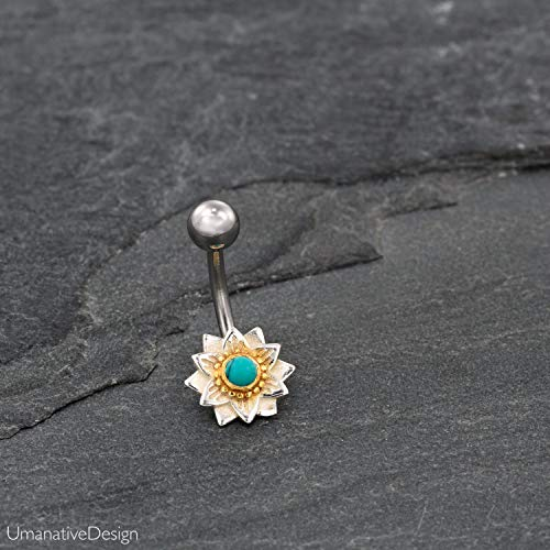 Indian Flower Mandala Belly Button Ring With Turquoise Gemstone, Silver Plated Brass & Surgical Steel Tribal Boho Unique Navel Piercing, 14g, Handmade Piercing Jewelry
