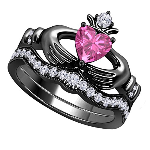 Silver Gems Factory Heart Shape Created Pink Sapphire & CZ Created Diamond 14k Black Gold Finish Alloy Engagement Wedding Bridal Set Claddagh Ring