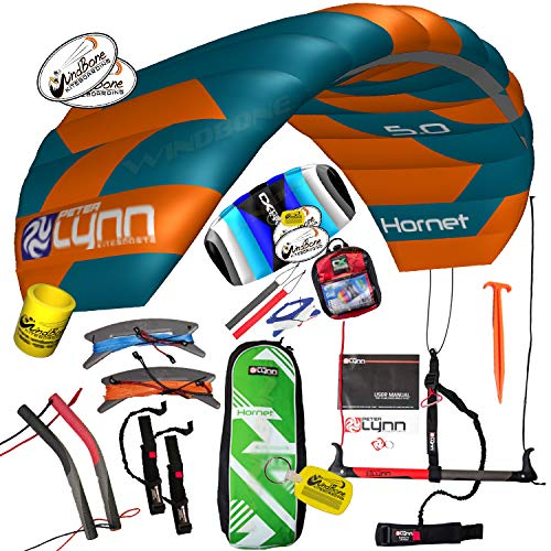 Peter Lynn Hornet 5M Fixed 4-Line Power Kite Dual Control Bundle Quad Handles + Bar (8 Items) Incl: Bar + Handles + Lines + WindBone Decals + Key Chain + Koozy + 2nd Kite CX 1.5M Control Strap Kite
